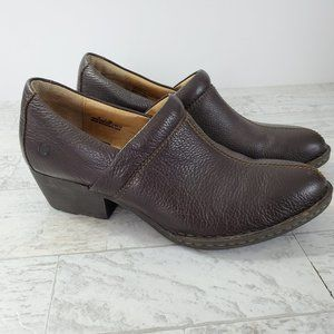 Born Pebbled Leather Mules Brown Comfort Wear Wear